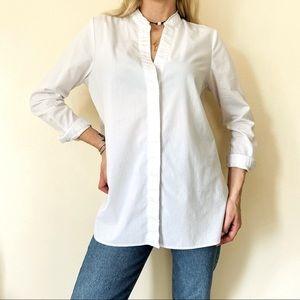 Marled white button down shirt